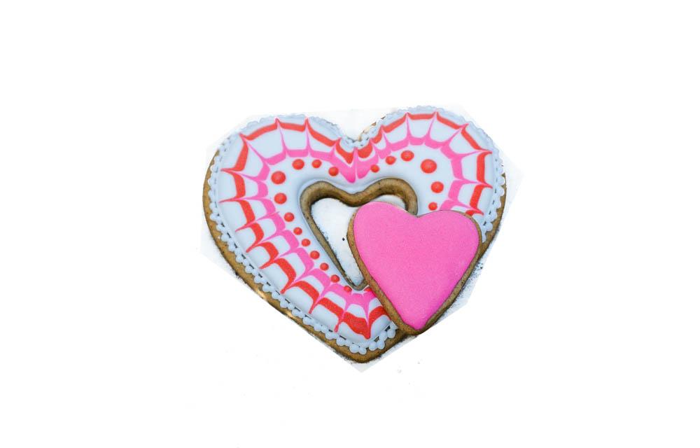 Сердце двойное розовое