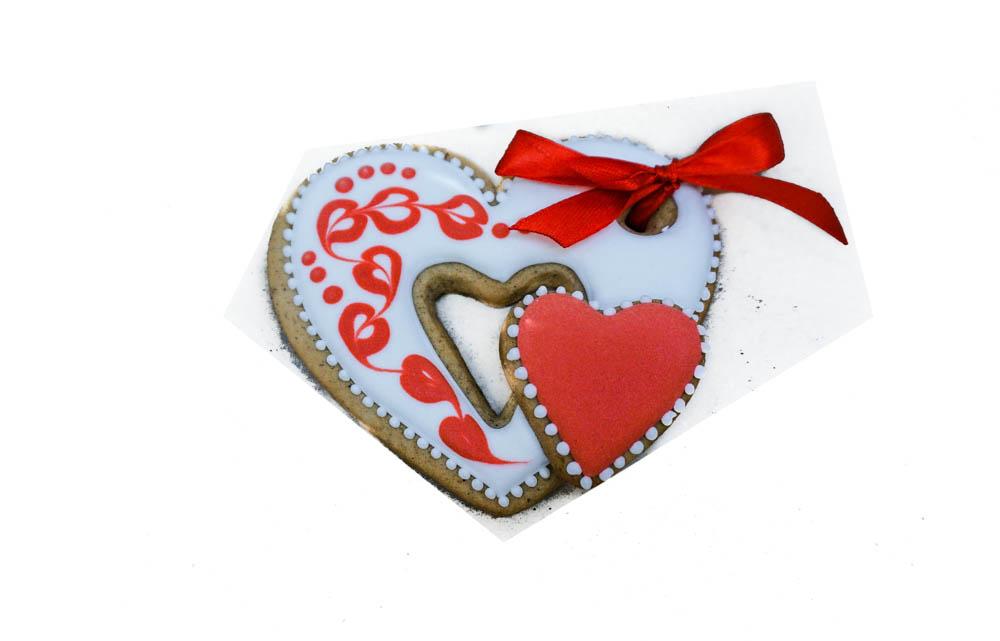 """Имбирный пряник """"Двойное сердце"""" красное"""