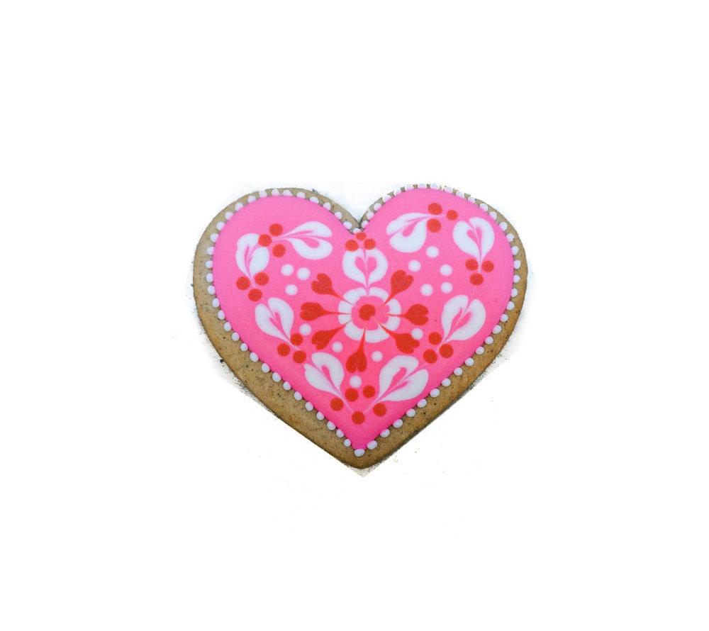 Сердце расписное розовое