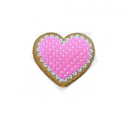 Сердце розовое с бусинками